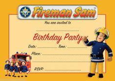 Fireman Sam Party Invitations Fireman Sam Party Pinterest