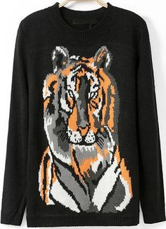 Black Long Sleeve Tiger Print Knit Sweater - Sheinside.com