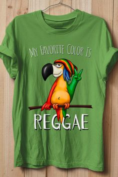 Sure thing, my favorite color is reggae! Peace out! Mr Rastafari Parrot stands for values like peace, love, diversity, equality, tolerance and freedom - and total chillness, of course. A colorful bird for the peaciest music genre, reggae, ragga, reggaeton, raggamuffin - rasta forever. Peace sign! Cool gift or present for a rasta lover. Unite, love and respect! Rastafari Art, Reggae Style, Caribbean Queen, Music Genre, Love And Respect, Branded T Shirts, Favorite Color, Fashion Brands, Freedom