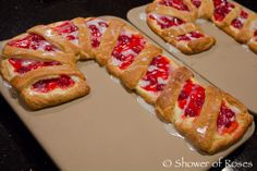 Easy Cherry Cheese Crescent Roll Cane Pastry.