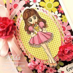"""Hilda Designs: Reto #11 en ZAC: Primavera digi stamp """"APRIL"""" de Zuri Artsy Craftsy,"""