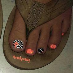 Chevron cross nail-art by Brandy Sunday Toe nail art Pedicure Designs, Pedicure Nail Art, Toe Nail Designs, Toe Nail Art, Cross Nail Designs, Pedicure Ideas, Nail Ideas, Orange Toe Nails, Nail Arts