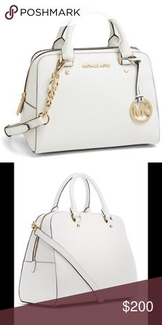Michael Kors Medium Jet Set Satchel SOLS OUT in stores MICHAEL Michael Kors Large Jet Set Travel Satchel Optic white saffiano leather.Tote handles.Adjustable shoulder strap.Continental top zip. Logo medallion hangs on front.Inside, monogram lining; one zip and four open pockets.  Imported. Michael Kors Bags Satchels