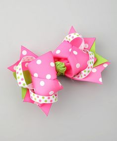 Pink & Lime Polka Dot Sweetie Pie Bow Clip
