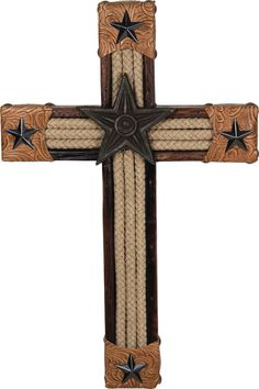 An impressive presentation on a rustic wooden frame with faux leather-wrapped points, rugged rope accents and metal riveted stars. A beautiful western piece for the office, study, or living room. Cowboy Crafts, Western Crafts, Western Decor, Wooden Crosses, Crosses Decor, Wall Crosses, Rope Cross, Cross Wall Decor, Cross Art