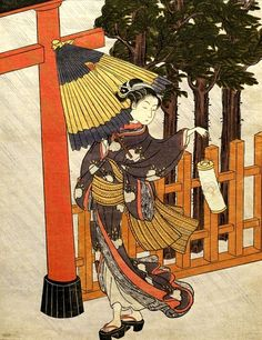 "lionofchaeronea: ""Woman with Lantern and Umbrella, Suzuki Harunobu, 1770 """