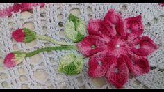 Flor, Botões e Folhas em Crochê Para Aplicações em Tapete de Barbante Ov...