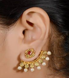 Buy Antique 2 in one stud cum ear cuff hoop online Pearl Necklace Designs, Gold Earrings Designs, Fashion Jewelry, Women Jewelry, Jewelry Sets, Hanging Earrings, India Jewelry, Gold Jewelry, Schmuck Design