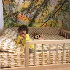 Montessori Floor Bed With Rails Full or Double Size Floor Bed Montessori Bed, Maria Montessori, Raised Bed Frame, Raised Beds, House Frame Bed, House Beds, Toddler House Bed, Small Space Interior Design, Wooden Bed Frames