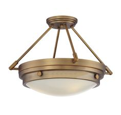 Lucerne Ceiling Semi Flush Light is sure to bring sleek metallic style to any space. Features White glass with a Polished Nickel, English Bronze, Warm Brass, and Satin Nickel finishes. Available in small and large sizes. 100 watt, 120 volt A19 Medium base incandescent base bulbs are required, but not included. UL listed. Small: 16.5 inch width x 10.75 inch height. Large: 18.5 inch width x 13.5 inch height.