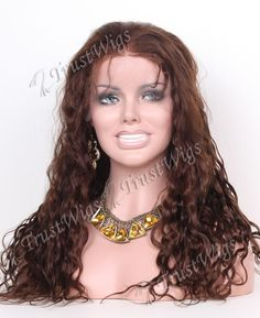 18inch medium brown color spanish wave indian remy hair full lace wig-free shipping