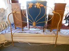 Beautiful brass headboard. Angel motif. Queen.