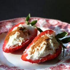 Deviled Strawberries stuffed with mascarpone cream