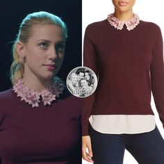 Betty Cooper wears this Ted Baker 'Nansea' embellished-collar oxblood top on Riverdale Betty Cooper Style, Betty Cooper Outfits, Riverdale Fashion, Riverdale Betty, Preppy Casual, Collar Shirts, Collars, Signature Look, Hat Hairstyles