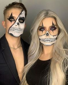 created this look and featured a touch of Hemway Ultra Sparkle Glitter on the lips! Maquillage Halloween Clown, Halloween Skull Makeup, Amazing Halloween Makeup, Halloween Eyes, Clown Makeup, Halloween Makeup Looks, Halloween 2020, Halloween Make Up Scary, Best Couples Costumes
