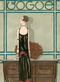 Illustration Photograph - A Vintage Vogue Magazine Cover Of A Woman by Georges Lepape Vogue Vintage, Vintage Vogue Covers, Vintage Art, Art Deco Posters, Poster Prints, Art Prints, Magazin Covers, Vogue Magazine Covers, New Museum