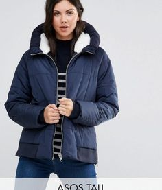 ASOS TALL Padded Jacket with Faux Fur Hood and Knitted Trim – Navy. Tall Clothing for tall women at PrettyLong.com