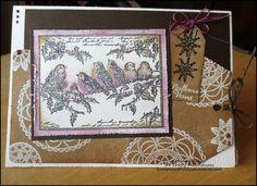 Les folies de Coco... A card with 'Lace Doilies' (CI-426), 'Winter Garden' (CI-425), 'Jolly Holly Robins' (CI-424)