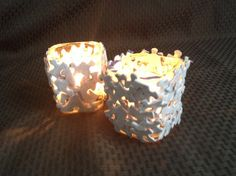 Candle Holders Made of Glass and Jigsaw Puzzle Pieces by SJPuzzles, $20.00