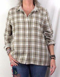 J Jill Blouse XL size Beige Brown Plaid Lined Long Sleeve Easy Wear Cotton Shirt