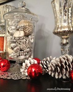our sparkling silver and red christmas decor