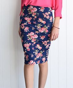 Love this Navy & Pink Floral Pencil Skirt - Women by éloges on #zulily! #zulilyfinds
