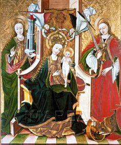 Hl. Maria mit Kind; Hl. Barbara; Hl. Katharina 1470-1490; Smrecany; Slowakei; Marienkirche  http://tarvos.imareal.oeaw.ac.at/server/images/7013547.JPG