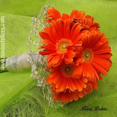 Ramo de novia atrevido con gerberas de color mandarina
