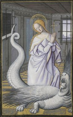 gorgonetta: demonagerie: Bibliothèque nationale de France, Latin f. Book of Hours, use of Rome. century Aw man, before I scrolled to see the bottom of the pic I thought this was a medieval illustration of a lady with a snake tail Medieval Manuscript, Medieval Art, Illuminated Manuscript, Medieval Paintings, St Margaret, Book Of Hours, Sacred Art, Christian Art, Religious Art