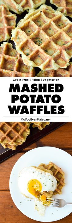 Use leftover mashed potatoes to make these grain free, nut free mashed potato waffles! Top with a fried egg and Hollandaise or make into a savory breakfast sandwich. | DoYouEvenPaleo.net