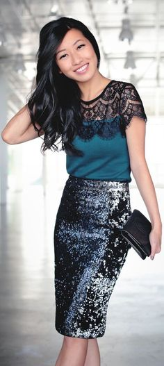 Lace Sweater Tee Sequin Skirt by #ExtraPetite #partywear find more women fashion on www.misspool.com