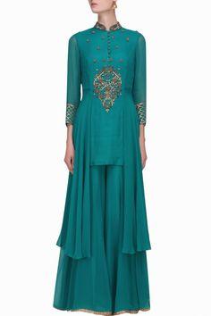 Teal floral dabka and sequins embroidered kurta and sharara pants set - Sanna Mehan