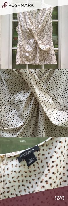 Ann Taylor Ivory print sleeveless career blouse Dressy top with brown & black delicate print. Size 16. Rear zipper. Polyester, spandex. EUC Ann Taylor Tops Blouses
