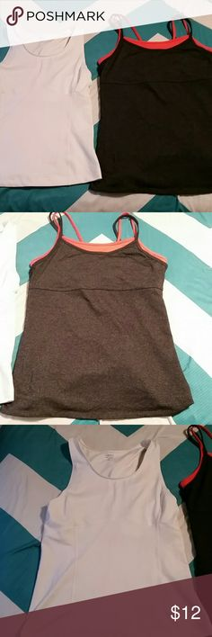 Gap Active Tanks Both in Great condition.  White is Medium  Gapbody moisture wicking with no staining. Dark grey and orange is Gapfit size large with no visible wear. Price is for both but will separate for $6 each. GAP Tops Tank Tops