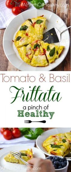 This tomato basil frittata is a nod to the caprese salad (baked into eggs!), and it is super simple to make. | APinchOfHealthy.com