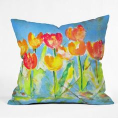 DENY Designs Spring Tulips by Laura Trevey Indoor/Outdoor Throw Pillow Size: