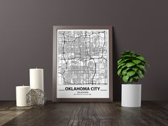 Excited to share the latest addition to my #etsy shop: Oklahoma City map print, Minimalistic wall art poster, Oklahoma gifts, Birthday Gift, For father, Father