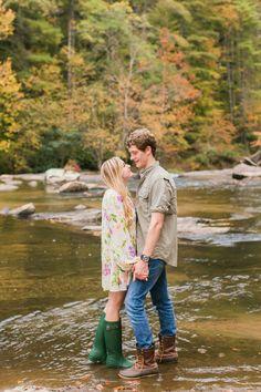 Jessi Nichols Photography | Greenville SC Wedding Photographer | mountain engagement photos | river engagement | hunter rain boots | fall engagement photos | Engagement Outfit Inspo