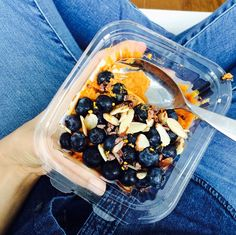 Breakfast: A creamy sweet potato bowl with cacao nibs, slivered almonds and blueberries.