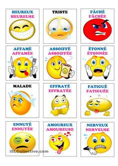 Emotions et sentiments French Language Lessons, French Language Learning, French Lessons, Image Emotion, French For Beginners, Autism Education, Emotional Awareness, French Education, French Classroom