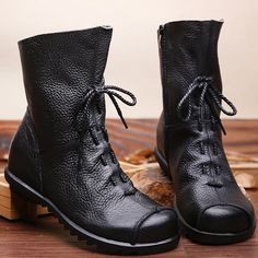 ae03ef234a SOCOFY Big Size Pure Color Lace Up Ankle Leather Comfortable Zipper Boots  is hot-sale. Come to NewChic to buy womens boots online.