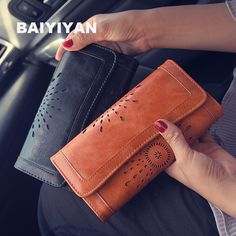 2017 New Retro Hollow  Wallet Female Sunflowers Leather Tri-fold Wallet Ms. Long Wallet