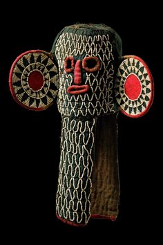 Elephant mask from the Bamileke people of the Grassfields of Cameroon, Woven material dyed black, red fabric and embroidered glass beads African Masks, African Art, Mask Dance, Exotic Art, Art Premier, Art Africain, Masks Art, Indigenous Art, African Elephant