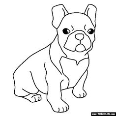 100% free coloring page of a French Bulldog Puppy. Color in this picture of a French Bulldog Puppy and share it with others today!