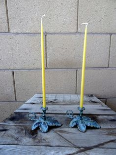 Vintage Leaf Taper Candle Holder Pair With Bees by TiesofMyFather Unique Candle Holders, Taper Candle Holders, Green Dot, Candlesticks, Bees, Wax, Shabby Chic, Group, Amazing