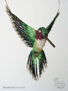 Beaded Bird Necklace, Beaded Hummingbird Suncatcher, Beaded Window Decor, Bird Ornament, Bird Figure, Ruby-throated (large)  / BB048