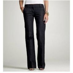 """HP 11/20J. Crew Favorite Fit Blue Jeans Size 0 J. Crew Favorite Fit Women's Denim Jeans Size 0 30"""" approx inseam 8"""" approx rise 28"""" approx waist 20"""" approx leg opening 2 front pockets 2 rear pockets Belt loops Zip, double clasp and button closure J. Crew Jeans Flare & Wide Leg"""