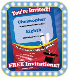 Get this FREE printable Magic Party Invitation template when you book Chris Rose for your child's birthday party! Invite is EDITABLE! It's a customizable Adobe PDF. Just add your party's details and print from home.