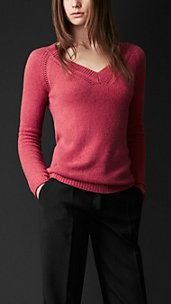 Open-Stitch Detail Cashmere Sweater Burberry