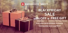 """Are you ready for the busiest shopping day and greatest """"black"""" deals? Use the coupon code BLACKFRIDAY and receive 10% off for all Swiss-made products + a special gift for every purchase above $100! #swissmadedirect #blackfriday #gifts #discount Shopping Day, Coupon Codes, Special Gifts, Black Friday, Coding, Place Card Holders, Products, Gadget, Programming"""